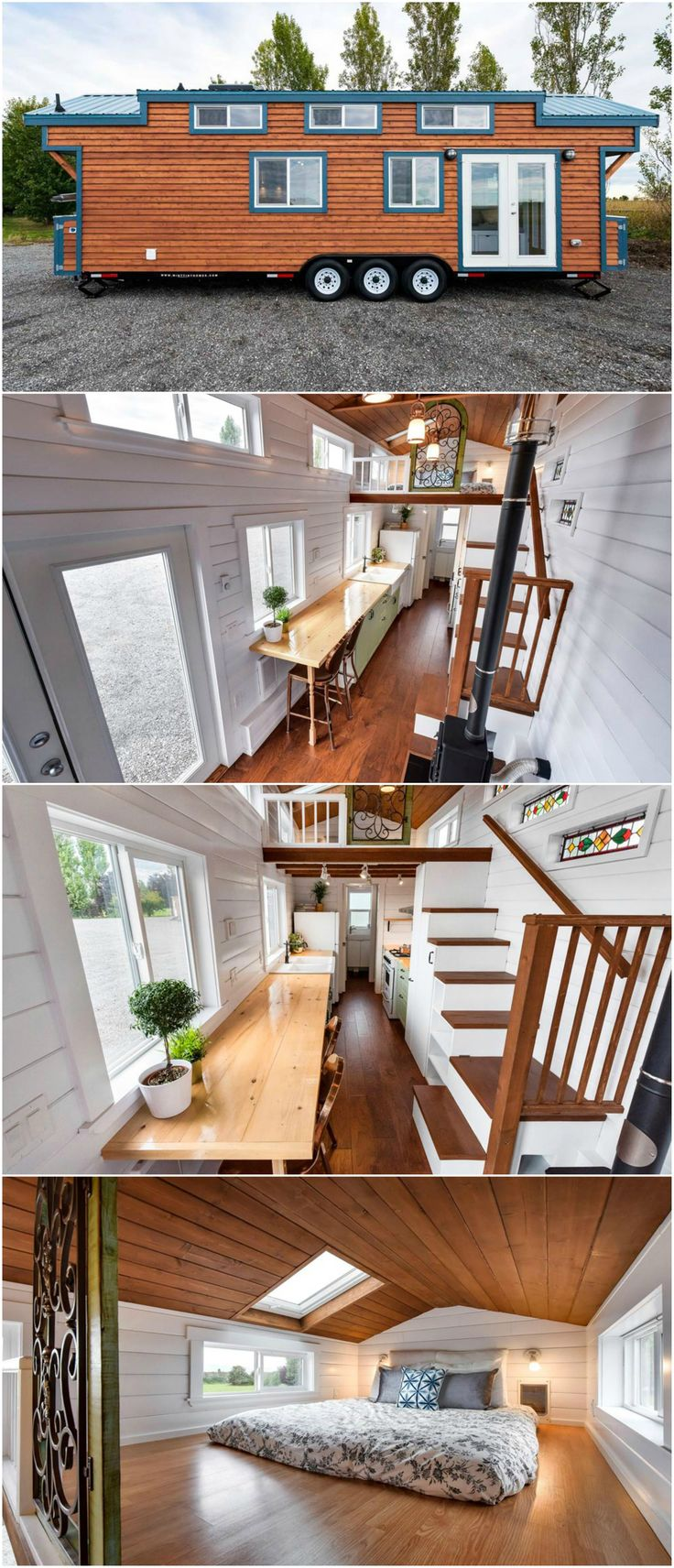 This custom designed 30′ tiny house was built by Mint Tiny Homes in British Columbia, Canada.  The tiny house includes a Hobbit wood stove, corner nook with storage below, and a pull-out larder pantry in the storage staircase. There is also a kitty litter space in the staircase, which is vented outside.  The kitchen features a double ceramic apron sink, custom wood countertops, and full size appliances including a refrigerator, 30″ propane oven with hood vent, and dishwasher.