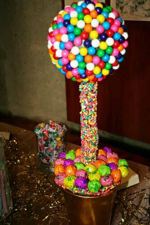Candy Tree: Gum Balls, Nerds Rope Candy and Tootsie Pops.....