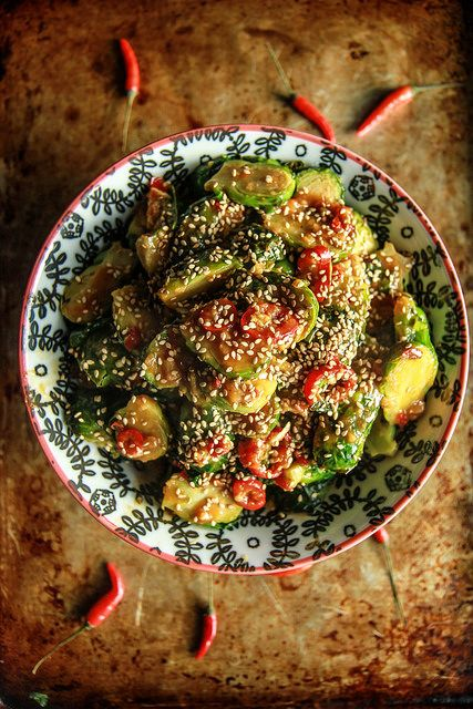 Spicy Asian Brussles Sprouts | Heather Christo