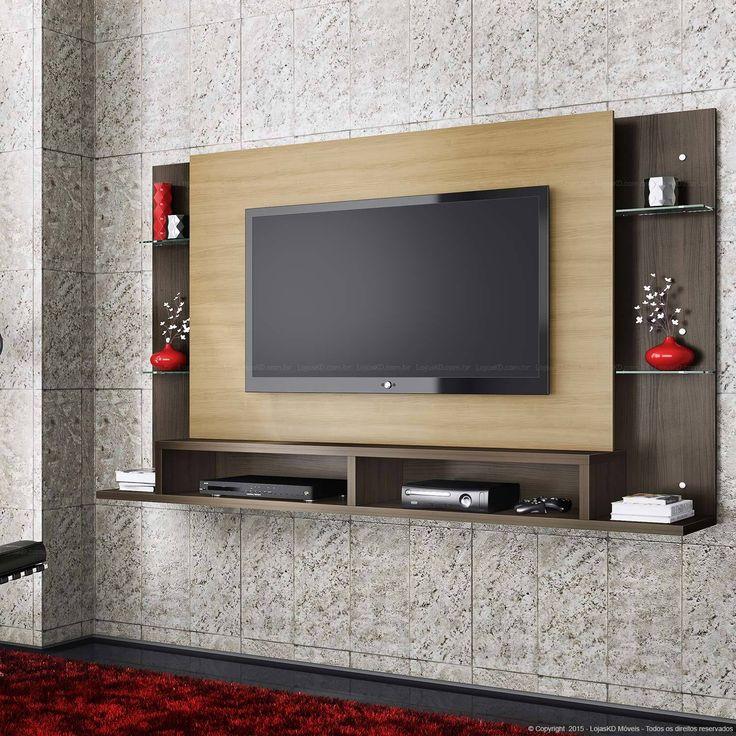 341,63 - Home Suspenso para TV até 55 Polegadas Cewale 109 x 182,6 x 31,5 Amêndoa/Cacau - Casabras | Lojas KD