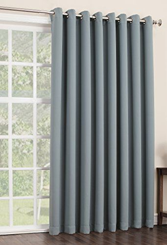 Sun Zero Easton Extra Wide Blackout Patio Curtain Panel, 100 by 84-Inch, Solid, Mineral - Top Blackout Curtains