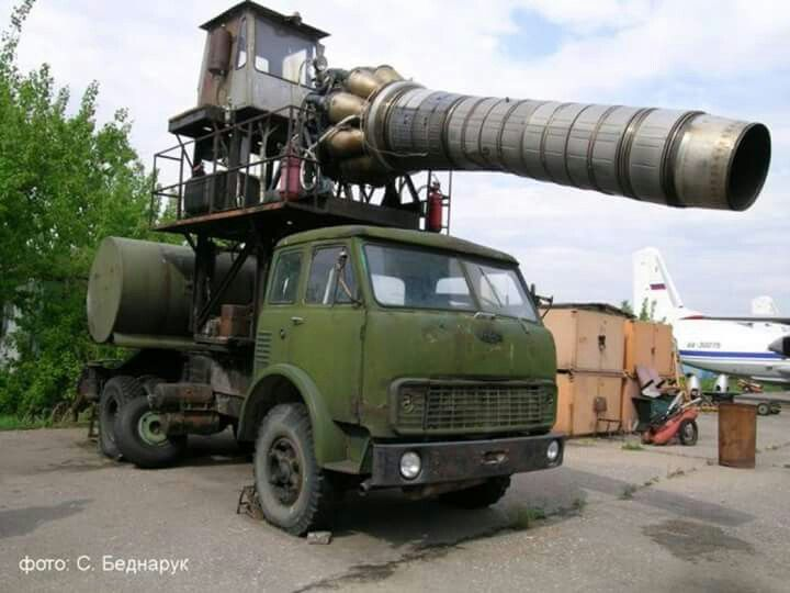 Retired Soviet runway cleaning truck. An Engine from a Mig 15 blows debris and snow off runways so they're safe for fast jets