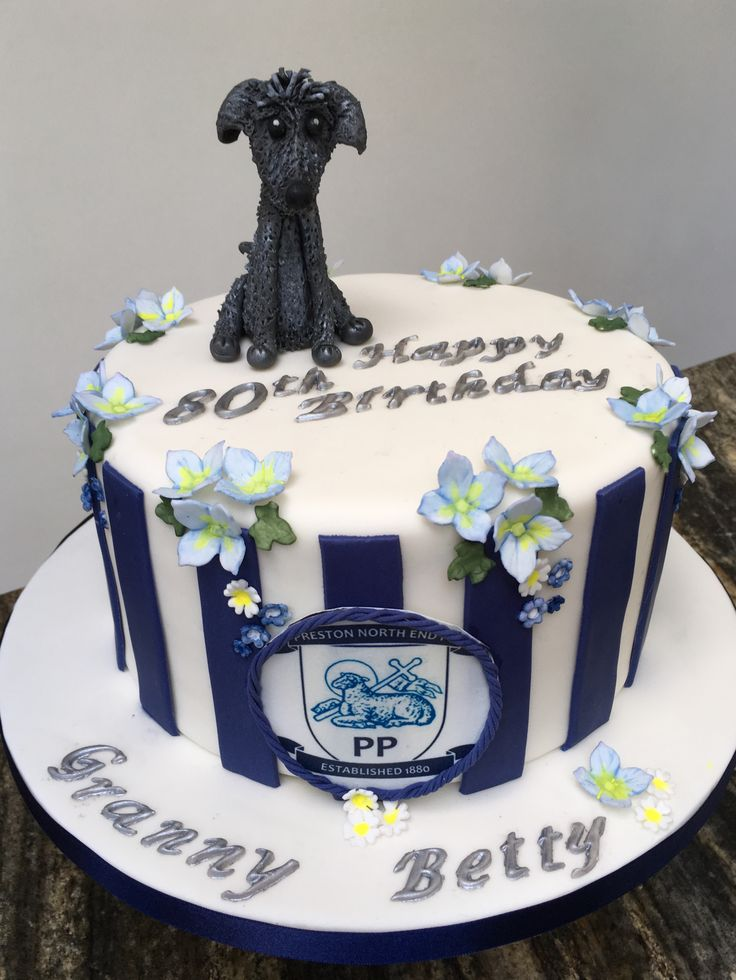 80th Birthday Cake, lady with Beddlington Terrier, and Preston North End Supporter