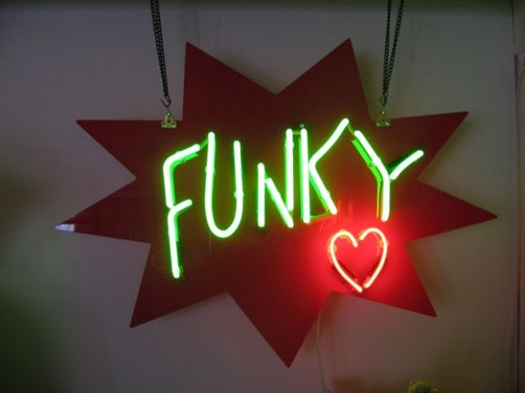 'Funky Heart' neon designed and made by Neon Creations Ltd
