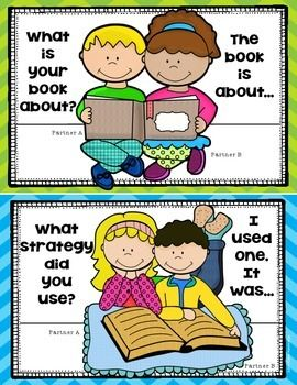 Reading Workshop posters to help facilitate students when talking about books with a buddy/partner. Perfect for First Grade and later in the year for Kindergarten. Includes 7 posters plus a bookmark! $