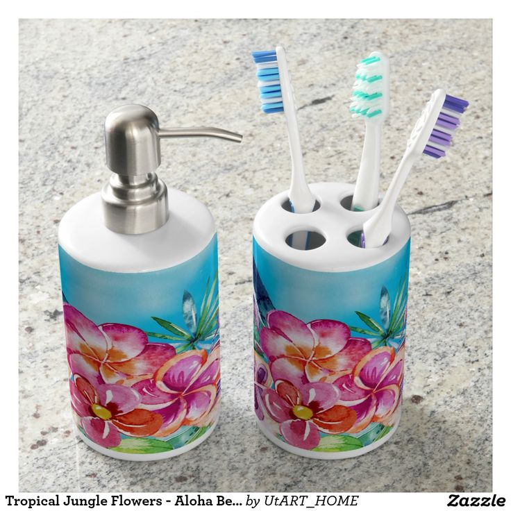 Tropical Jungle Flowers - Aloha Beach Soap Dispenser And Toothbrush Holder