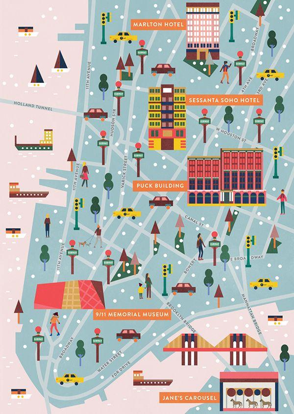 Saskia Rasink - New York Map for Les Echos France