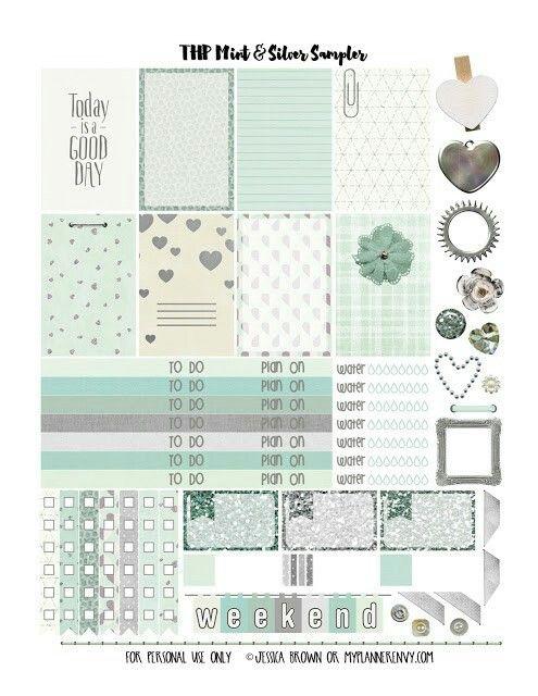 Mint & Silver Sampler - Free Planner Printables