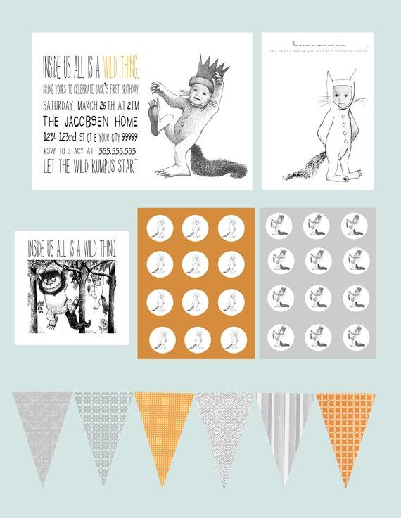 Where the wild things are Party Pack - Full design