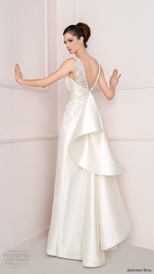 antonio riva 2016 bridal lace strap v cut back a line wedding dress cleo -- Antonio Riva 2016 Wedding Dresses