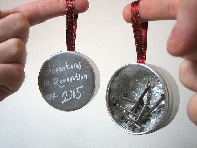 Adventures in Renovation Christmas Ornament. Made with actual nails from my house
