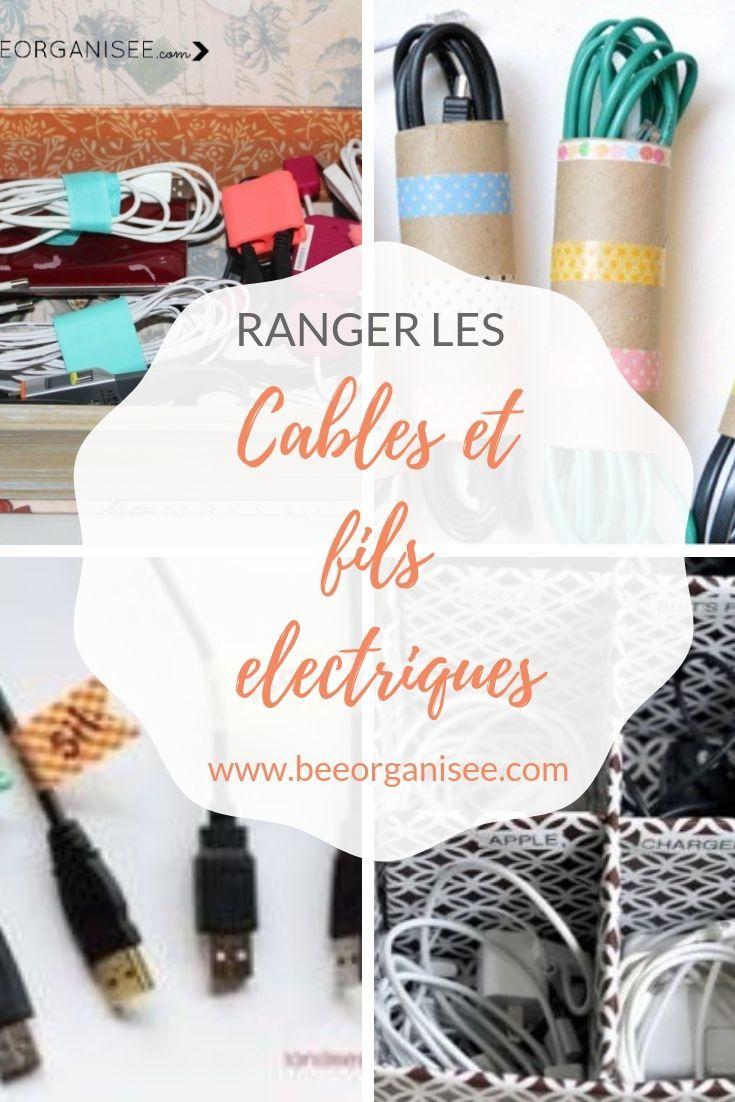 Comment Ranger Les Fils Electriques Les Cables De Connexion Et Les Chargeurs Bee Organisee Fil Electrique Range Cables Organisateur De Cable
