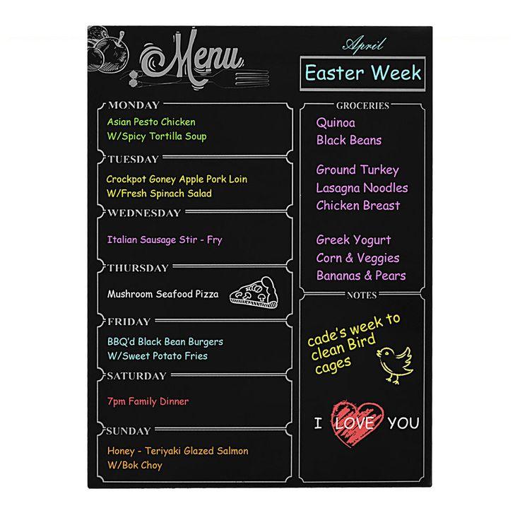 Refrigerator Dry Erase suck Board Magnetic Calendar Weekly Plan Black #Unbranded