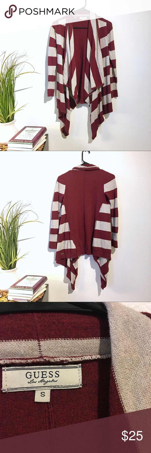 GUESS maroon and beige striped cardigan excellent condition! Perfect for fall...size small Guess Sweaters Cardigans