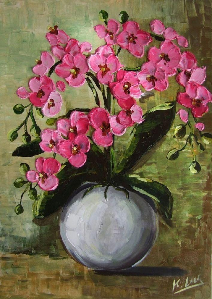 Pink Orchids Palette knife Original Oil Painting Europe Artist Flowers Bouquet #Impressionismimpastotexturedpaletteknifeart