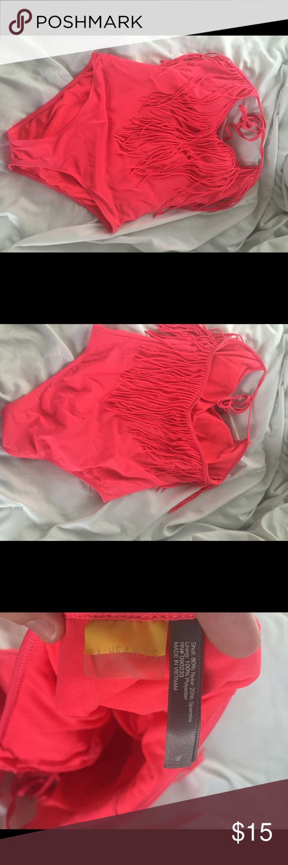 la hearts fringe bathing suit super cute! only worn a few times!! fringe goes front to back and is a halter tie top! bright coral color. LA Hearts Swim One Pieces