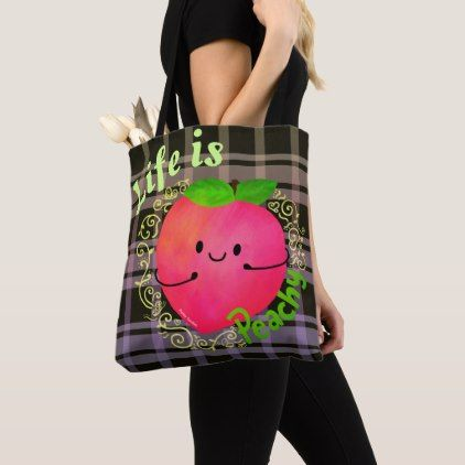 Positive Peach Pun - Life is Peachy Tote Bag - good gifts special unique customize style