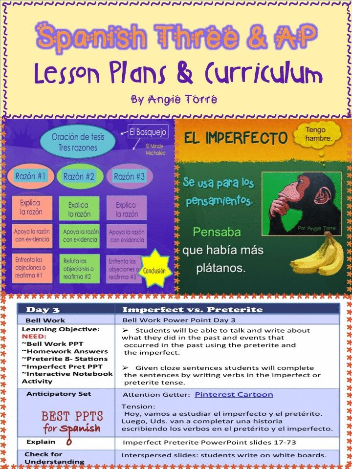 Spanish Three & AP Lesson Plans and Curriculum for an Entire Year.  Don't be overwhelmed!  No-Prep Lesson Plans and all the curriculum you need to teach Spanish Three and AP.  No book needed for Spanish Three.