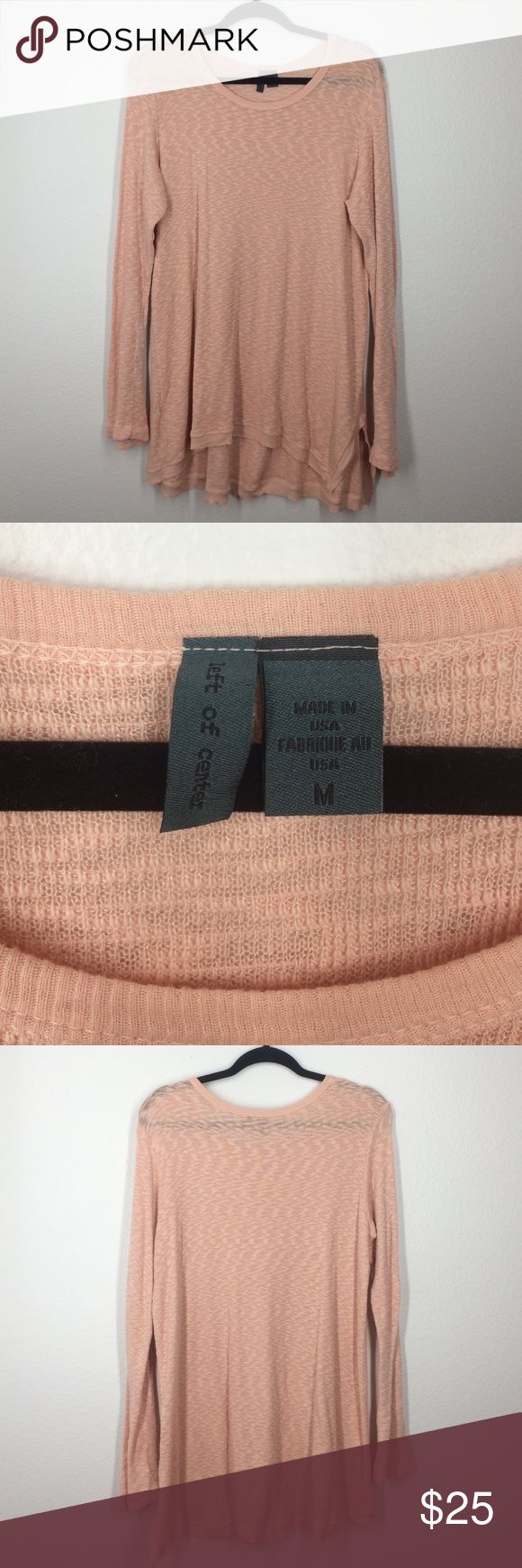 Anthropologie left of center peach top size M Beautiful and cozy peach long sleeve top. Like new! Runs big! Anthropologie Tops Tees - Long Sleeve