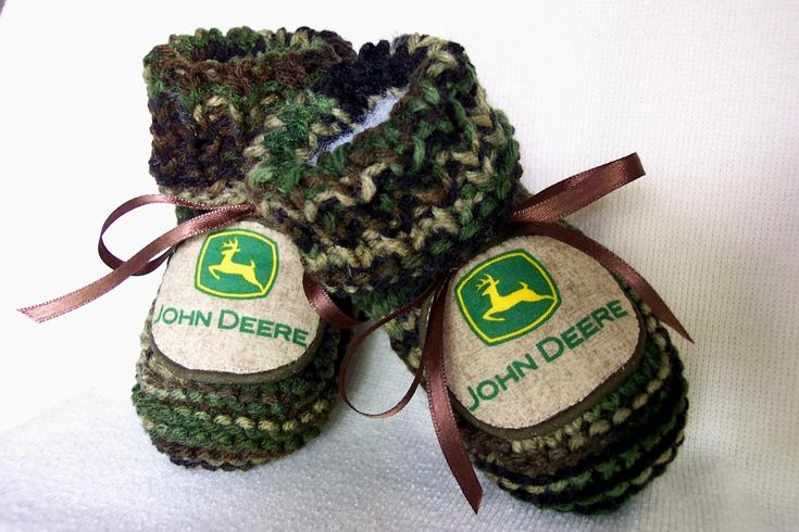 John Deere Logo Authentic Camouflage Baby Boy booties