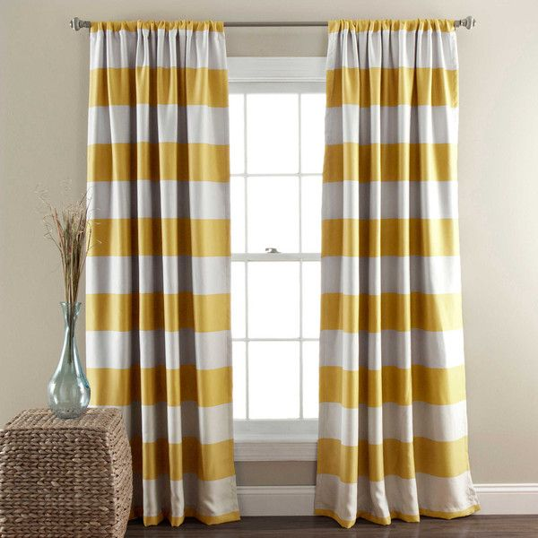 Lush Décor Stripe Room Darkening 84-Inch Rod Pocket Window Curtain... ($29) ❤ liked on Polyvore featuring home, home decor, window treatments, curtains, rod pocket curtains, striped curtains, horizontal striped curtains, patterned curtains and rod pocket draperies