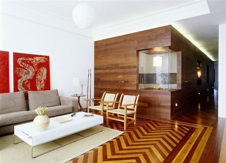 Wood panel wall   La Coruña Apartment by Díaz y Díaz Arquitectos