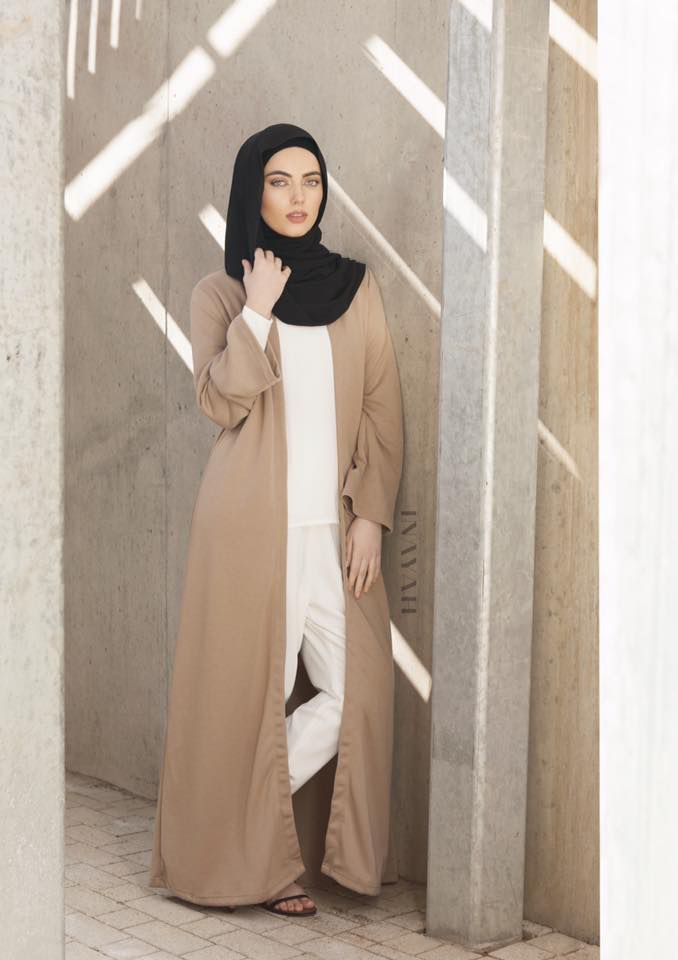 INAYAH | Style and versatility enabling you to stay cool and fashionable while keeping up with the latest street fashion trends - Mocha Round Neck Maxi #Coat + White Crepe #Top +White Tapered #Trousers + Black Rayon #Hijab  - www.inayahc.co