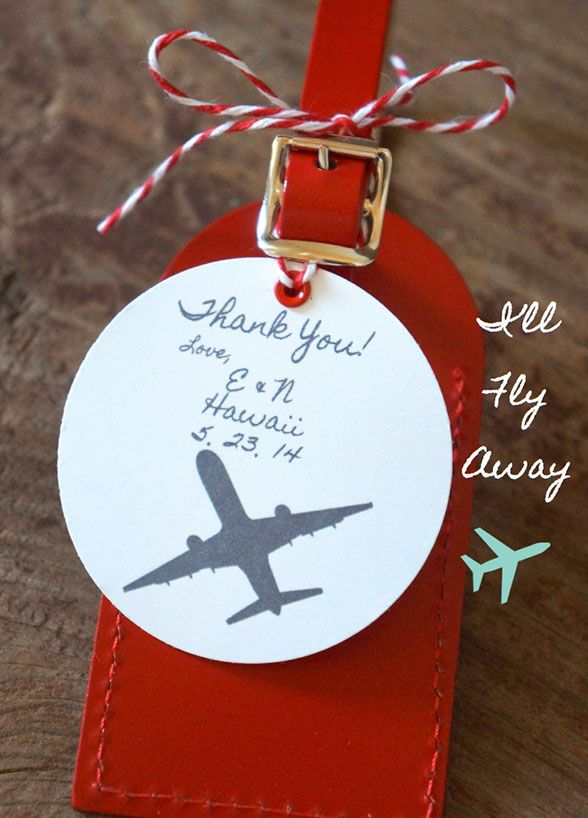 6. For a destination wedding, why not give your guests luggage tags. You can even have them personalized and use them as escort cards.   Wedding Favors