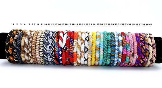 Roll-On Bracelet, Beaded Bracelet, Handmade Bracelet, Nepal Bracelet, Anthropologie Style, Crochet Bracelets, Trendy Bracelets,  EthnoKolor