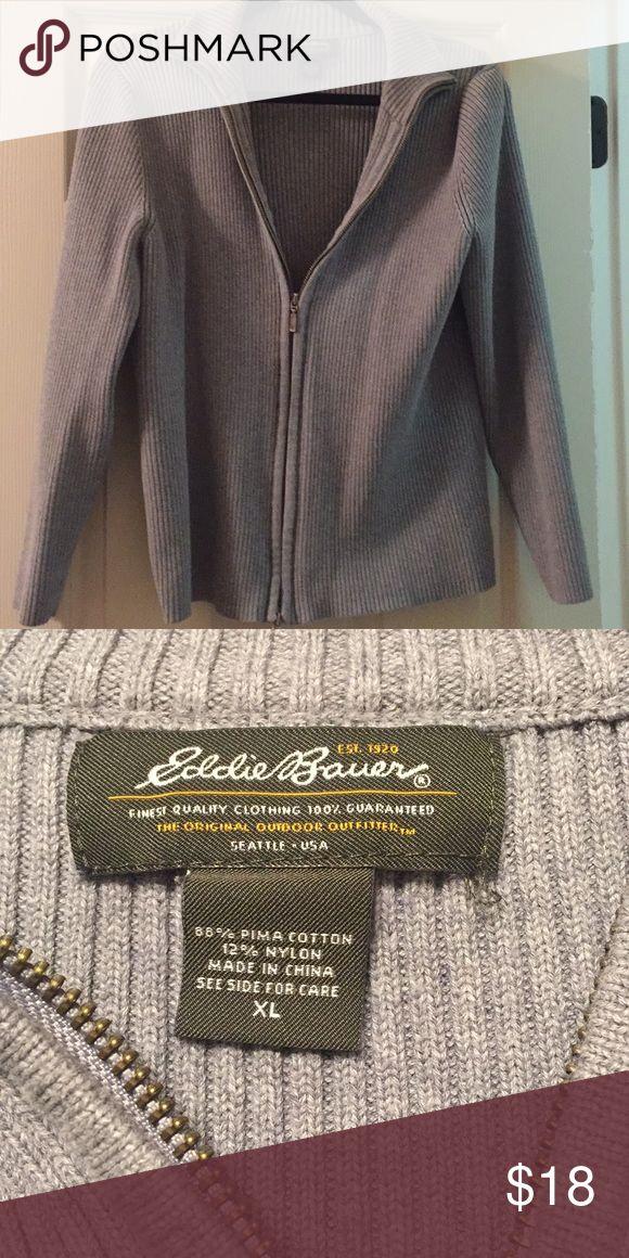 Eddie Bauer zip up sweater size XL Eddie Bauer zip up sweater size XL color gray Eddie Bauer Sweaters