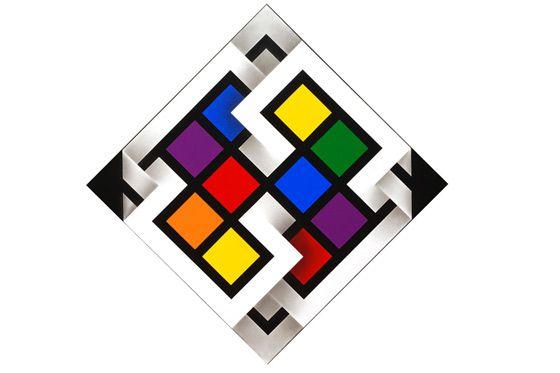 Cuadrados de color que surgen de la fusión de líneas y cintas de colores, mostrando el origen de los colores secundarios.