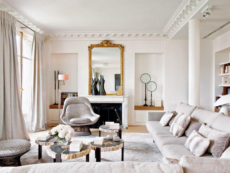 Un piso señorial y elegante... en París, proyecto del decorador Stéphane Olivier.