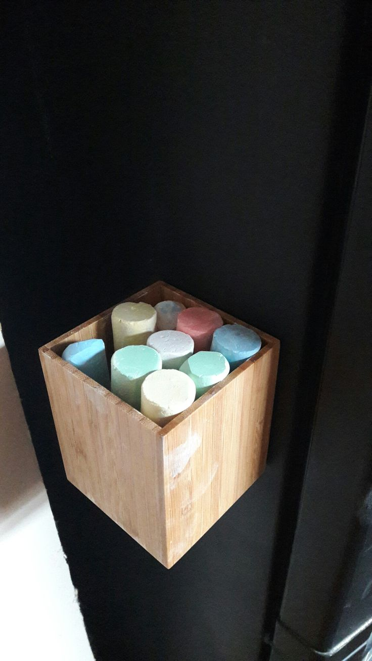 Repurposed stationery box, holds chalks for our chalkboard painted fridge!