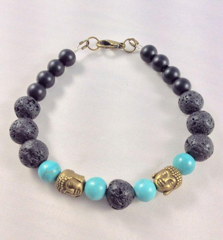 Unisex bracelet, Bracelet, Buddha, charms, lava stone, howlite, Hippy, boho, gypsy by Angelscrafts1 on Etsy