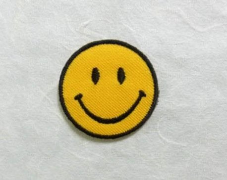 Smiley Face Iron on Patch Smiley Face Applique Embroidered