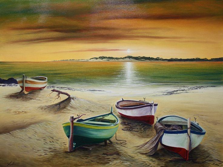 tramonto con barche ( da me dipinto ) di angelo latini