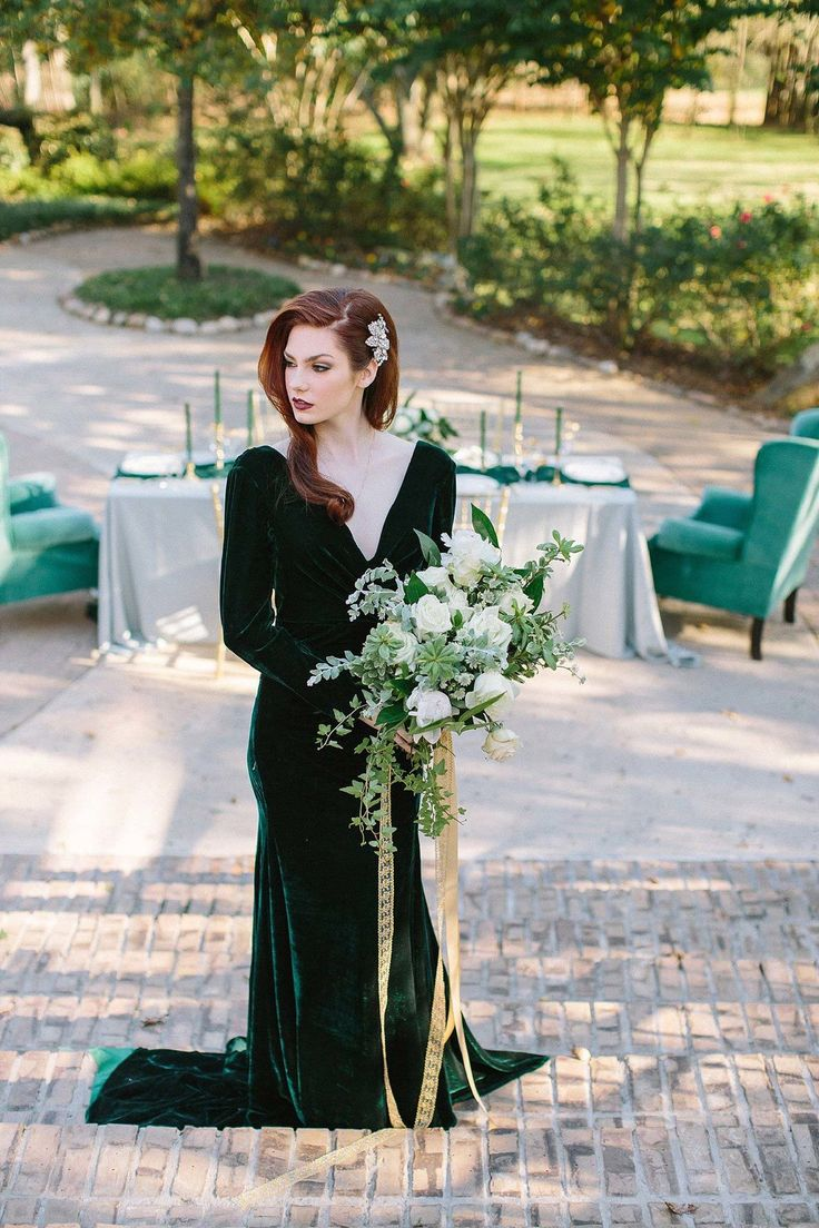 Best 25 velvet bridesmaid dresses ideas on pinterest velvet this lush white and green bridal bouquet is the perfect touch for any winter wedding ombrellifo Image collections
