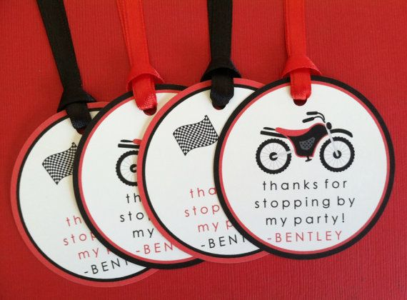 Red Dirt Bike Favor Tags - Birthday Party Decorations - SET OF 12 on Etsy, $10.80