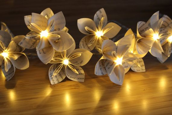 10 or 20 LED Origami Harry Potter Book Page Flower Fairy Lights / String Lights / Gift for Book Worms / Harry Potter Lovers