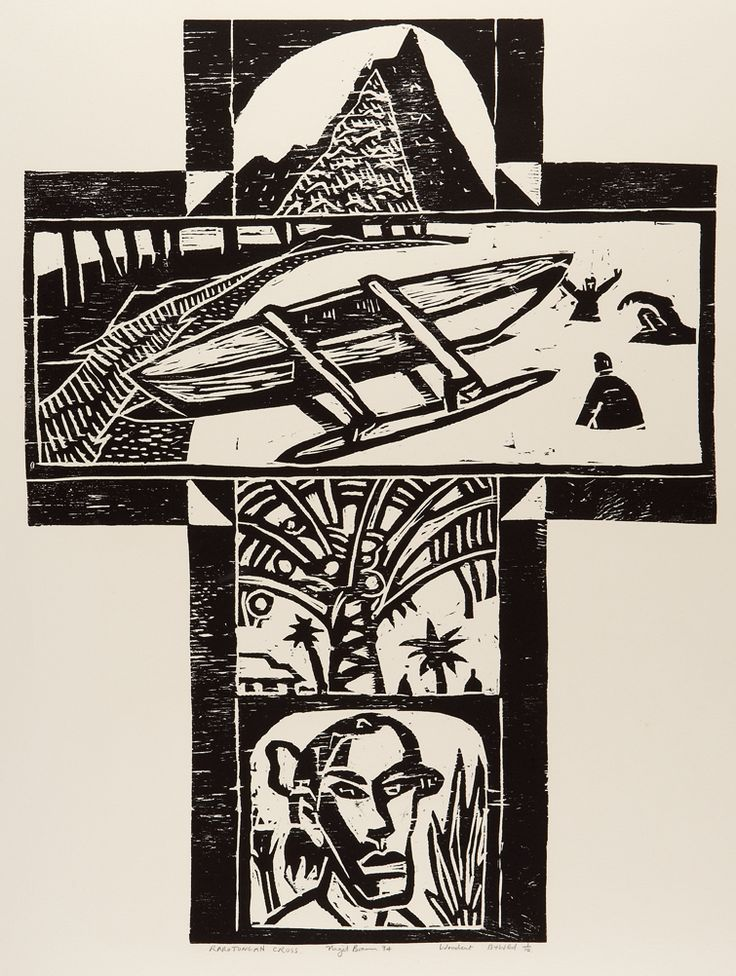 Nigel Brown Rarotongan Cross (1994) Woodcut  900 x 700mm