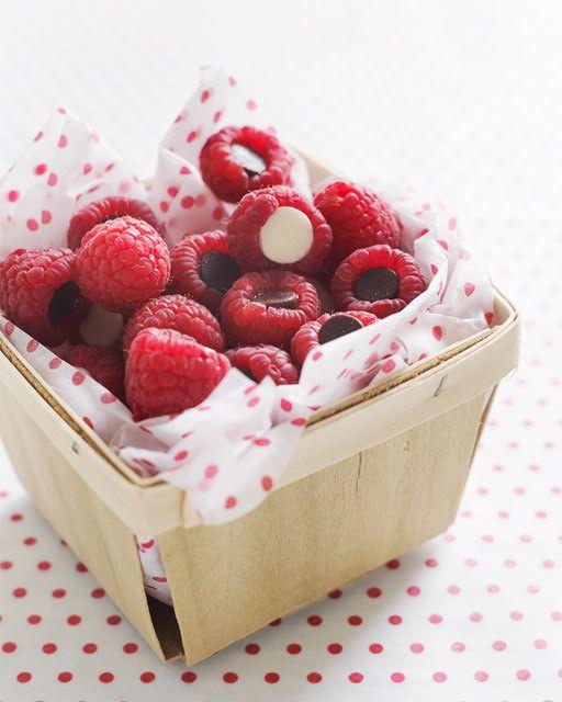 Chocolate Chip Stuffed Raspberries - http://www.sweetpaulmag.com/food/sweet-paul-holiday-countdown-day-2-chocolate-filled-raspberries #sweetpaul