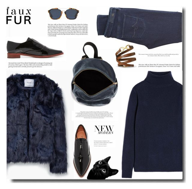 """""""Faux Fur Coats - karanlık"""" by bynoor ❤ liked on Polyvore featuring MANGO, AG Adriano Goldschmied, BP., 10 Crosby Derek Lam, Christian Dior and fauxfurcoats"""