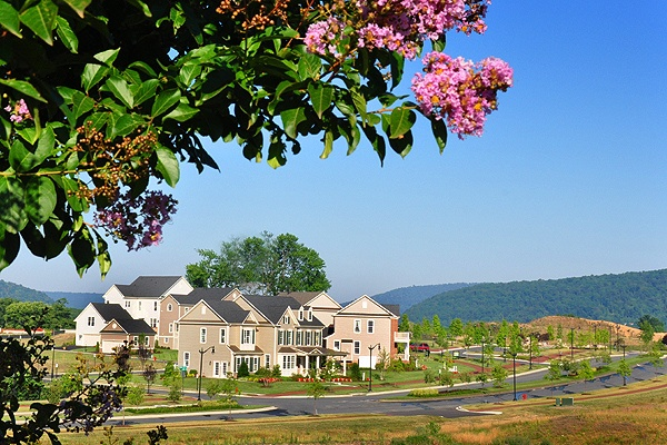 A westward view from Volunteer Drive at Brunswick Crossing, a planned community in Brunswick, Maryland