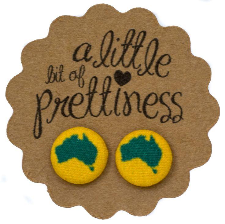 Australia Day fabric button earrings $8.00 www.alittlebitofprettiness.com.au