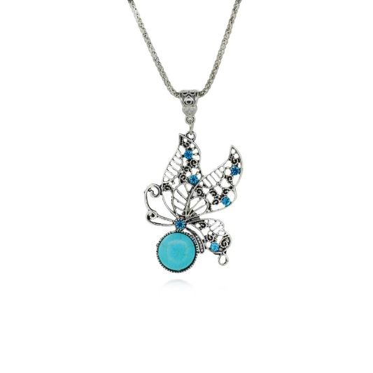 Jeweled Butterfly Pendant Necklace