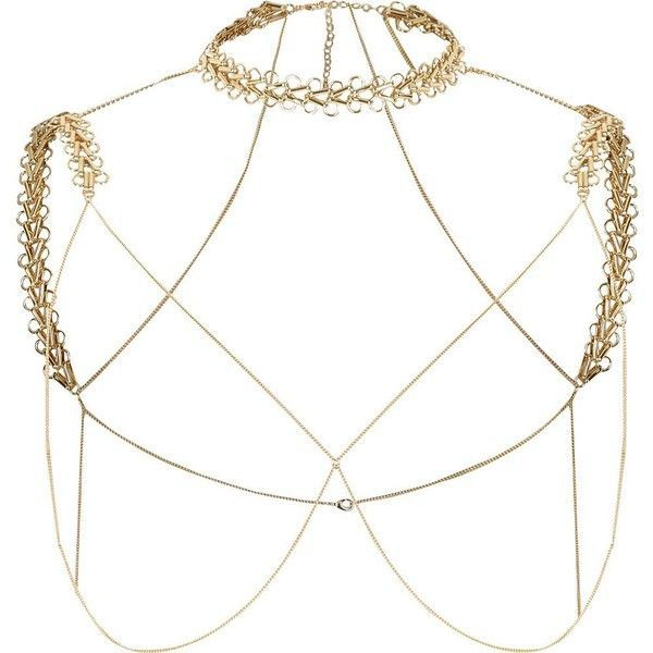 River Island Gold tone chain shoulder and choker harness ($50) ❤ liked on Polyvore featuring jewelry, body jewelry / harnesses, gold, women, river island, gold jewellery, goldtone jewelry, gold tone jewelry and gold colored jewelry