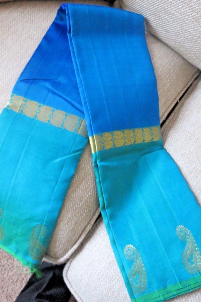 Kanchipurom i Silk Sari with Zari Body Colour : Blue with Light blue Border. Border Colour : Light blue with weaving sari. | eBay!
