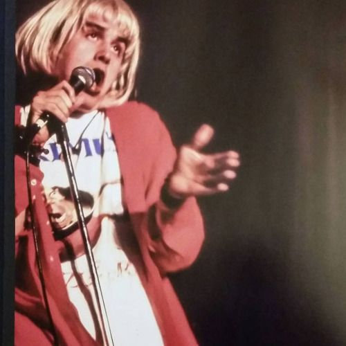 Mike Patton dressed as Kurt Cobain for Halloween 1990. Photographed during Billy Idol tour.