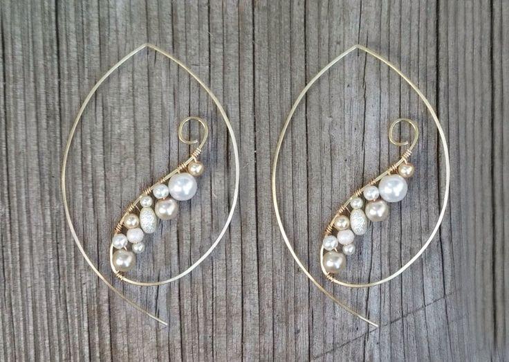Pearl Earrings, Gold Wire Wrap Hoop Earrings, Edgy Pearl Hoop Earrings, Feminine Pearl Chandelier Earrings by FateAndNecessity on Etsy https://www.etsy.com/listing/196786063/pearl-earrings-gold-wire-wrap-hoop
