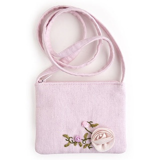 Darling wee shoulder bag for little girls with silk rose and ribbon work leaves